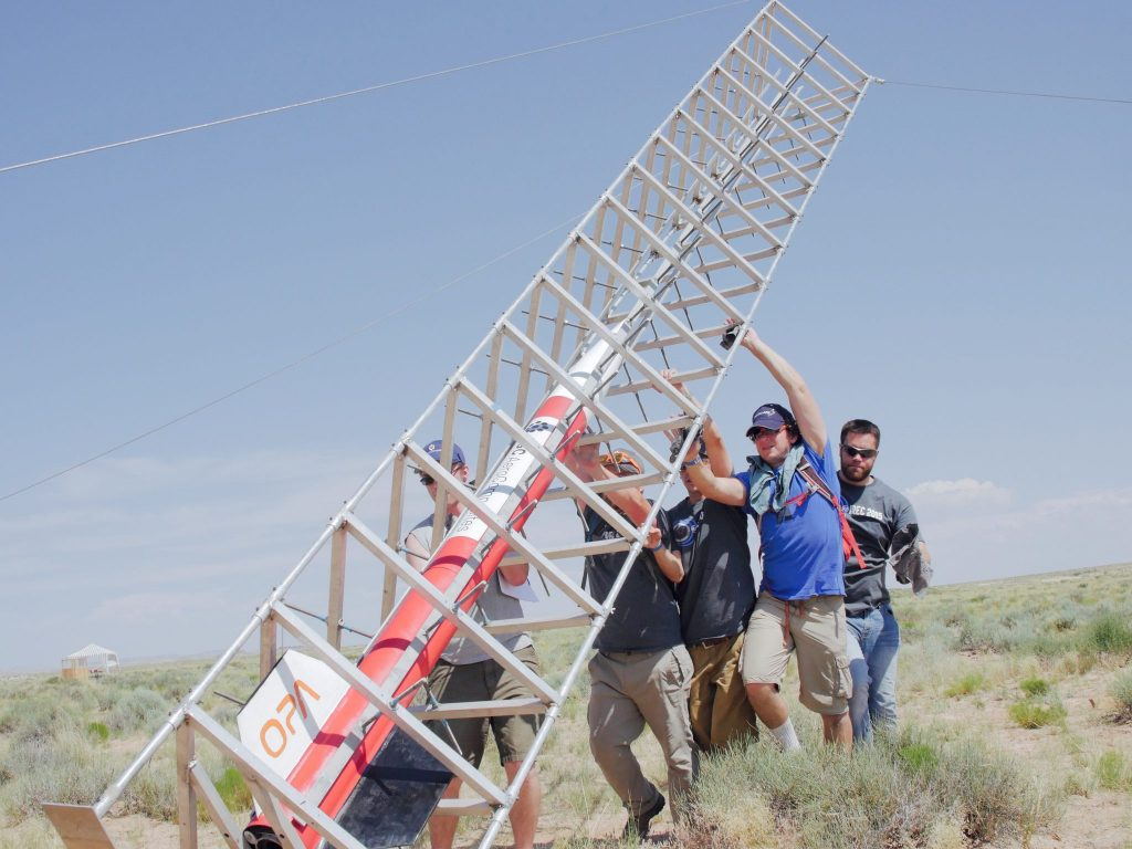 Rocketry Club lifts EagleOne launch pad into place (Photo courtesy Spencer Scott)