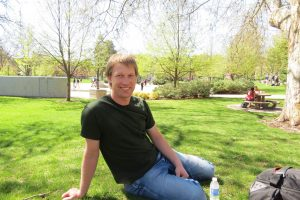 Anderson taking a break from his thesis on the EWU campus (Nick Thomas photo)