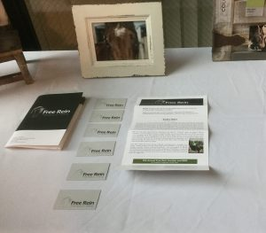 5 business cards in a row, photograph of a horse