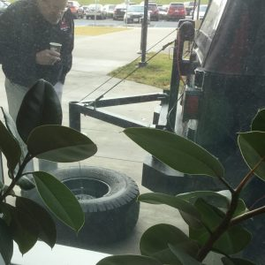 tire carrier with large Jeep tire