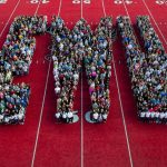 """Students standing together to form letters """"EWU"""""""