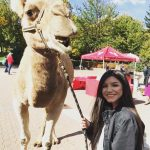 Woman standing with a camel in campus mall