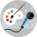 Microphone and paint palette