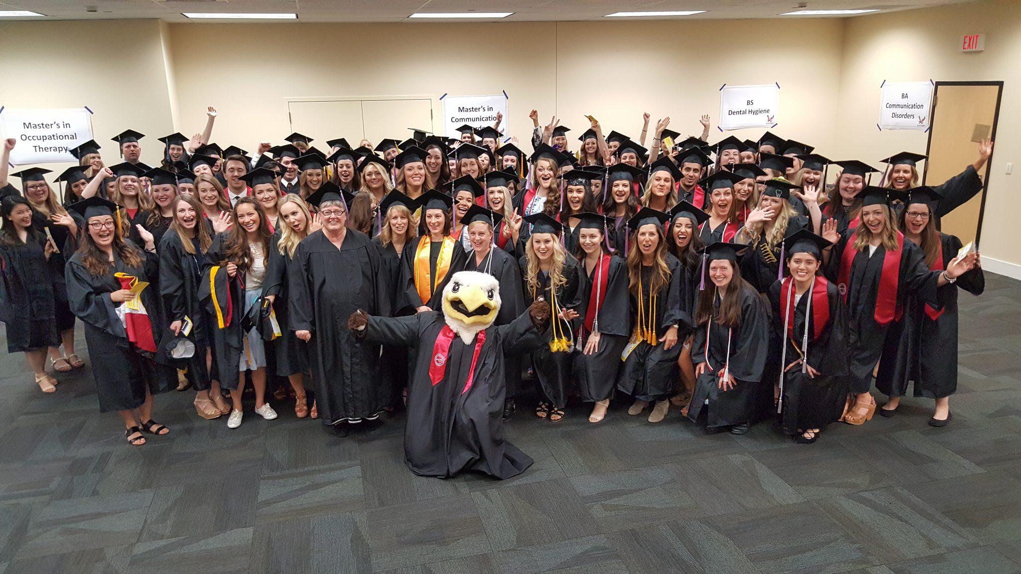 Photo of Swoop with 2017 semester graduates