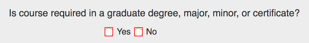 """""""Is course required in a graduate degree, major, minor, or certificate?"""" field"""