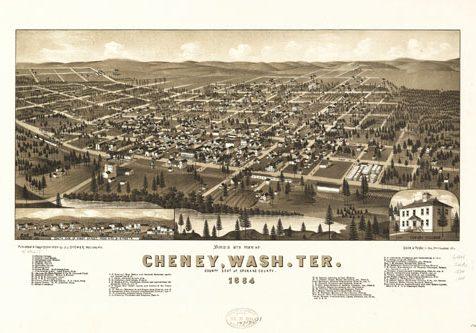 Map of Cheney, WA Territory c. 1884