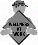 "cartoon man holding a sign that says ""Wellness at work"""
