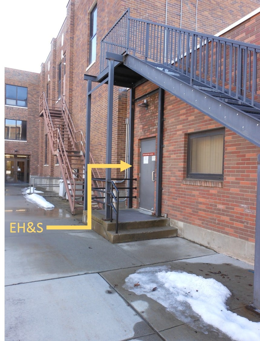 Image showing the location of the EH&S offices, taken standing on the sidewalk out the back of Williamson Hall