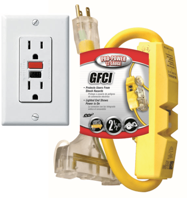GFCI outlet and extension cord
