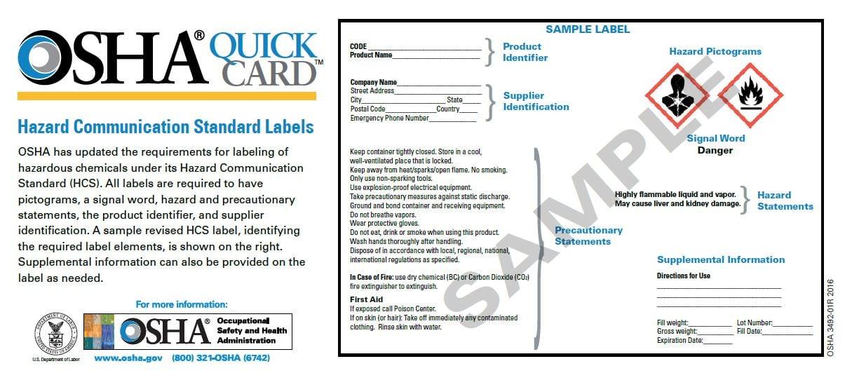 OSHA Quick Card 3492, Hazard Communication Standard Labels