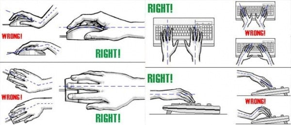 Proper wrist angles for using the keyboard and mouse. Try to eliminate any bending at the wrist, vertically or horizontally.