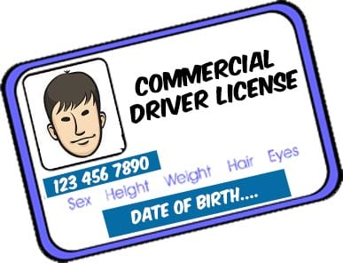 cartoon image of a commercial driver's license