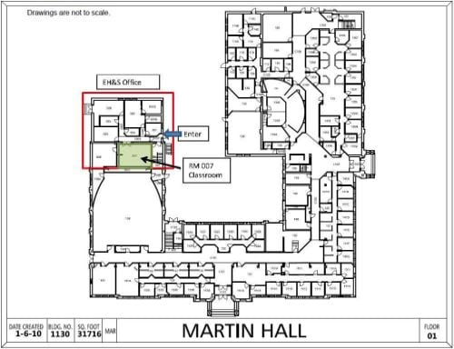 Martin Hall map with box around location of EH&S offices