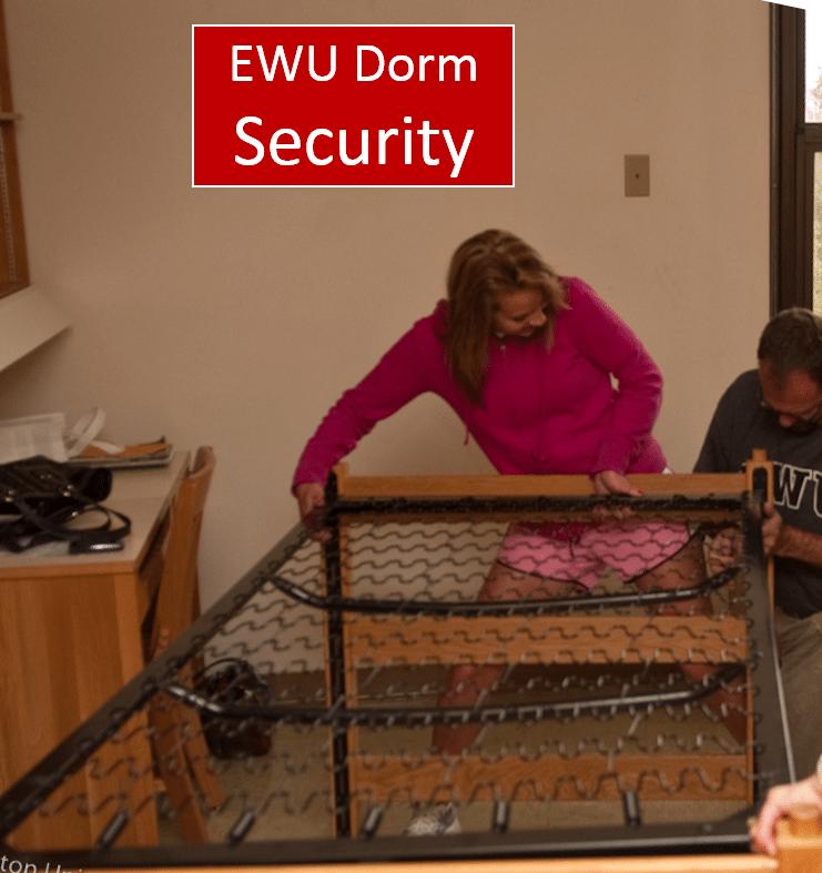 EWU dorm with dorm security poster