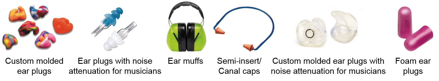 example of different types of hearing protection