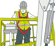 cartoon image of man working in a boom lift