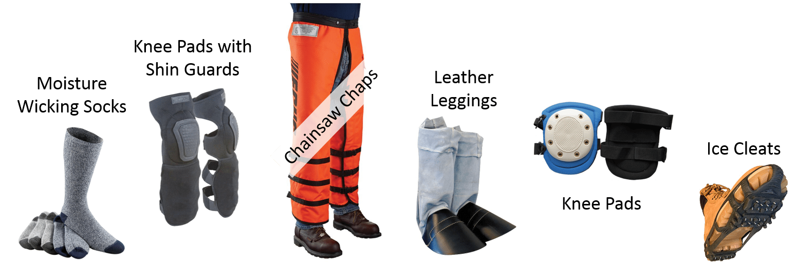 Image with examples of foot and leg personal protective equipment
