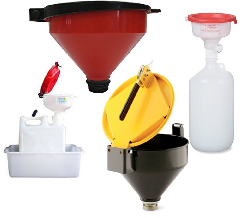 Examples of funnels that attach to containers and have lids.