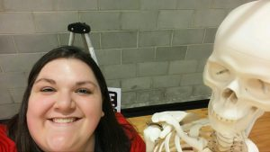 Krista selfie with Mr. Bones at Lake Spokane Elementary Science Night out 3/15/2016