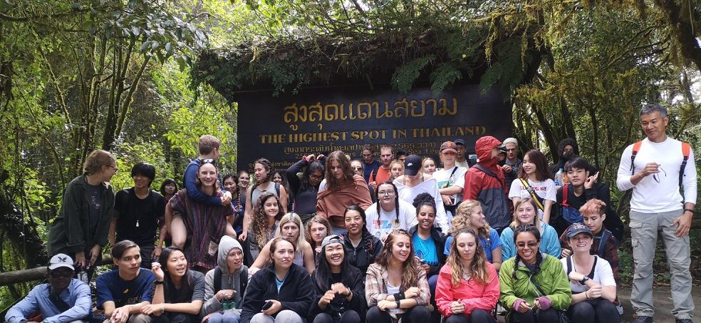 Chiang Mai University (CMU) Welcome Hike from the CMU campus to the summit of Doi Suthep. Malachi Chukwu pictured first row, first from left.