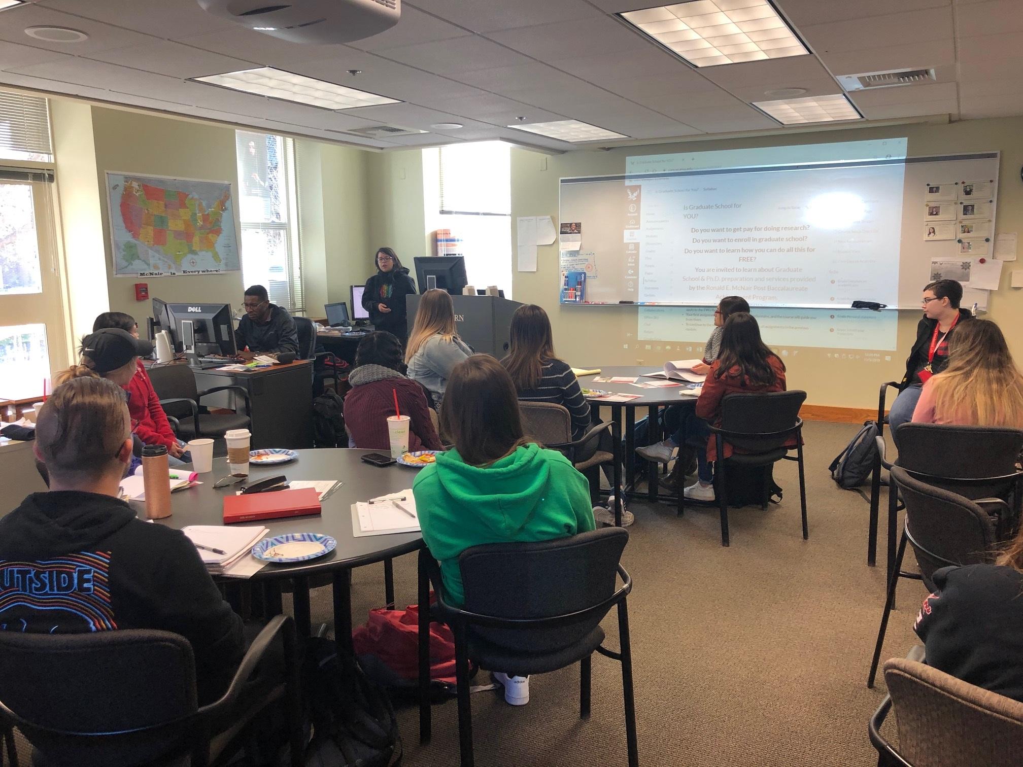 EWU McNair Scholar Marixza Torres Tells Students at EWU McNair Fall Orientation what the program does for students.