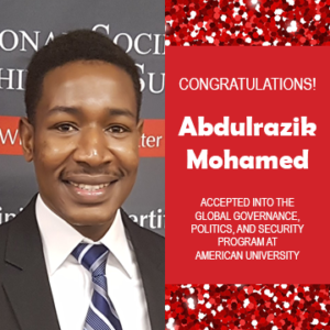 Photo of Abdulrazik Mohamed next to text announcing his acceptance to grad school, red confetti in the background