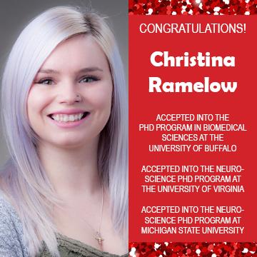Christina Ramelow Grad School Acceptances Announcements 2019