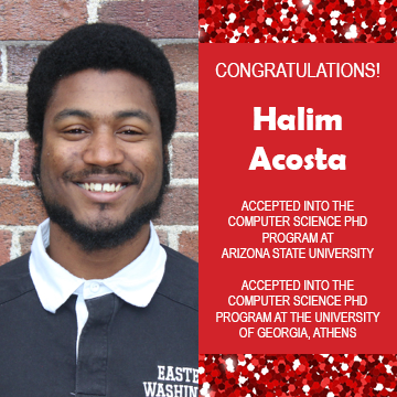 Photo of Halim Acosta next to text congratulating him on acceptance into graduate school