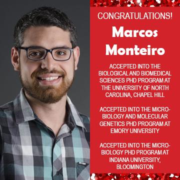 Photo of Marcos Monteiro next to text congratulating him on acceptances into 3 PhD programs