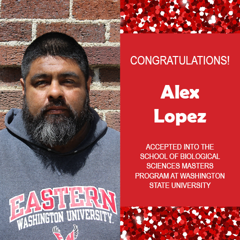 Photo of Alex Lopez next to red confetti background and text congratulating him.