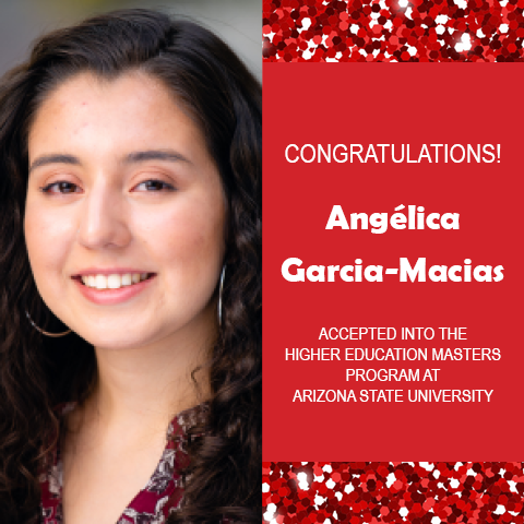 Photo of Angélica Garcia-Macias next to red confetti backdrop and text congratulating her.