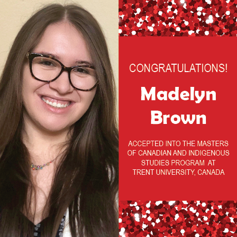 Photo of Madelyn Brown next to red confetti background with text congratulating her.