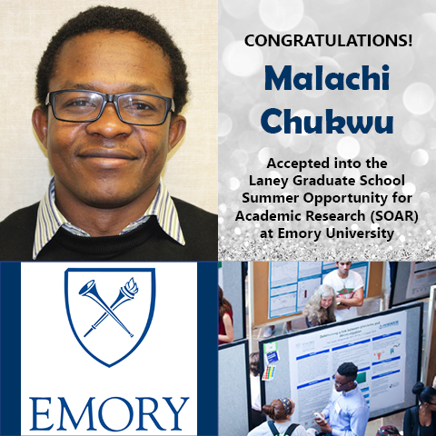 Photo of Malachi Chukwu next to logo of Emory University and photo of undergrads talking beside research posters.