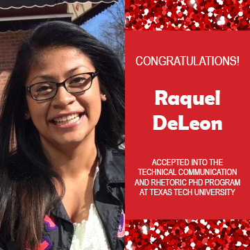 Photo of Raquel DeLeon next to red confetti backdrop and text congratulating her.