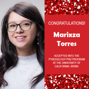 Photo of Marixza Torres next to red confetti background and white text on red congratulating her.