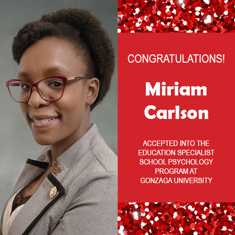 Photo of Miriam Carlson next red confetti background and white text on red congratulating her.