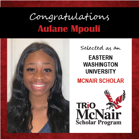 Photo of Aulane Mpouli next to text congratulating her with red textured border.