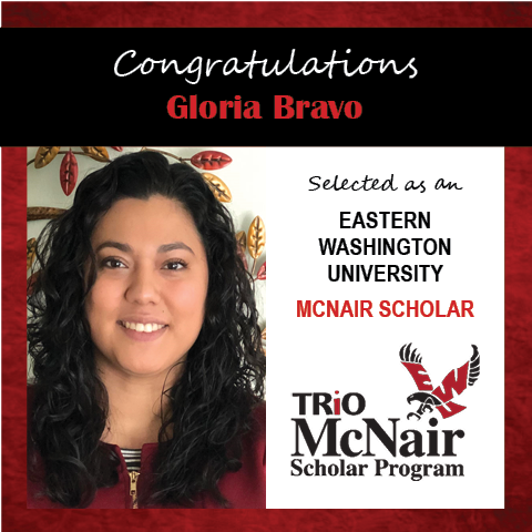 Photo of Gloria Bravo next to text congratulating her with red textured border.