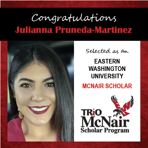 Photo of Julianna Pruneda-Martinez next to text congratulating her with red textured border.