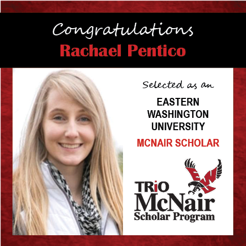 Photo of Rachael Pentico next to text congratulating her with red textured border.