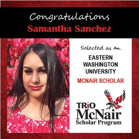 Photo of Samantha Sanchez next to text congratulating her with red textured border.