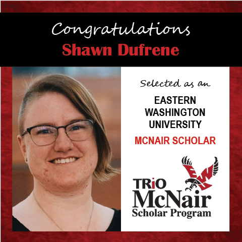 Photo of Shawn Dufrene next to text congratulating her with red textured border.