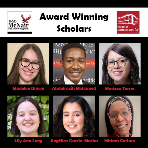 Image of EWU McNair Logo and EWU College of Social Sciences Logo on white banner at top with words in black: Award Winning Scholar. Images of 6 scholars and their names grouped below on black backdrop.