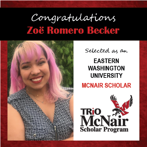 Photo of Zoe Romero Becker next to text congratulating her with red textured border.