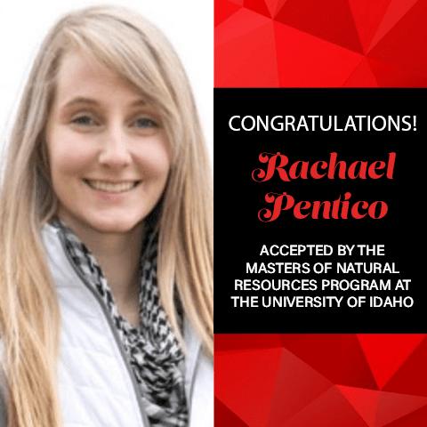Rachael Pentico Graduate School Acceptances 2021 IDAHO