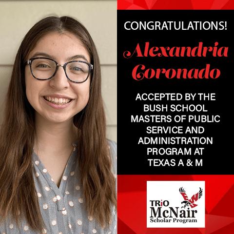 Alexandria Coronado Graduate School Acceptances 2021 TX