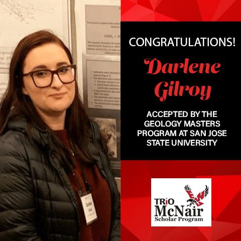 Darlene Gilroy Graduate School Acceptances 2021 SJSU