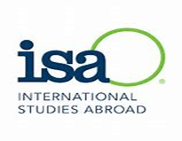 "large blue letters ""isa"" with a green line in a circle off to the right and going behind the a; below the text INTERNATIONAL STUDIES ABROAD"