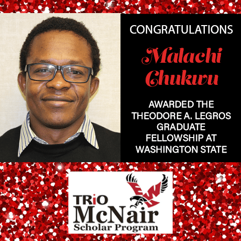 Red glitter background with photo of Malachi Chukwu and logo for EWU McNair