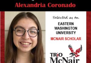 Photo of Alexandria Coronado next to text congratulating her with red textured border.